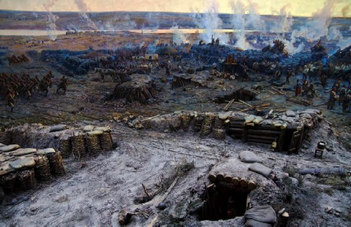 Part of the road, the continuation of which is depicted on a picturesque canvas. Soldiers of the Chernigov Infantry Regiment are running along it to the aid of the defenders of the Malakhov Kurgan.
