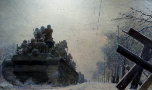 """Georgy Grigorievich Nissky, The painting """"Defense of Moscow. Leningradskoe highway , 1942"""