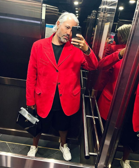 In a red jacket
