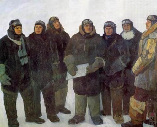 Fedor Reshetnikov. First Heroes of the Soviet Union. A. V. Lyapidevsky, V. S. Molokov, S. A. Levanevsky, M. V. Vodopyanov, N. M. Kamanin, I. V. Doronin, M. T. Slepnev