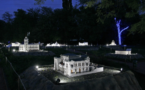In the Miniature Park in the evening - illuminated exhibits