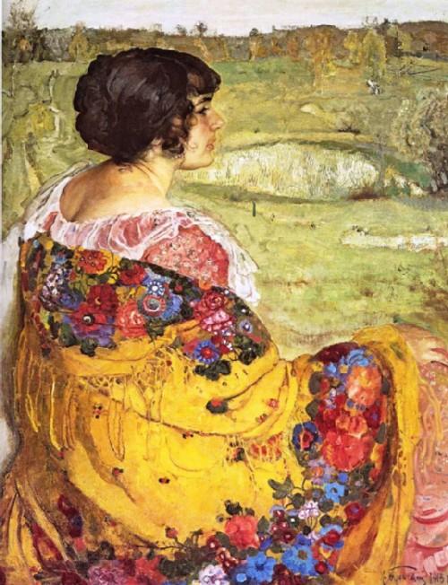 Isaak Izrailevich Brodsky. Portrait of the wife of Lyubov Makarovna Brodskaya, 1913