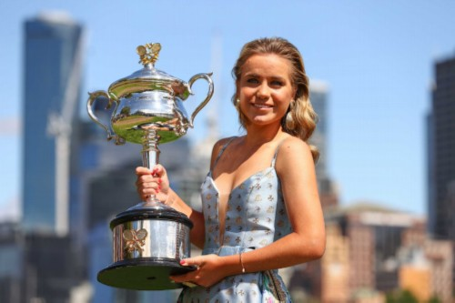 MELBOURNE, AUSTRALIA - FEBRUARY 02: Sofia Kenin of the United States poses with the Daphne Akhurst Memorial Trophy after winning the 2020 Australian Open Women's Final, at Yarra River Boathouse Drive on February 02, 2020 in Melbourne, Australia.