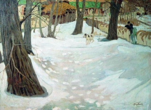Winter landscape with a house and a dog, 1910s