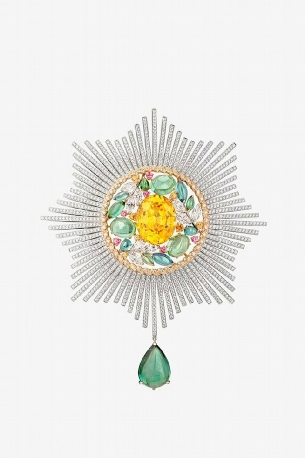 Ble Maria brooch with spinels, garnets, yellow sapphire, tourmalines and diamonds in white and yellow gold