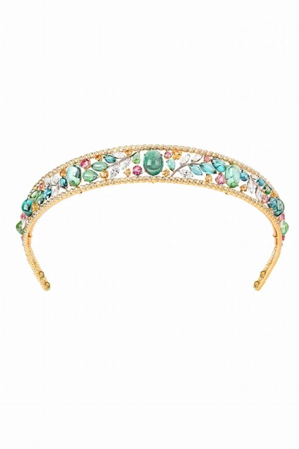 Ble Maria tiara, yellow and white gold, pink spinel, spessartines, tourmalines, diamonds