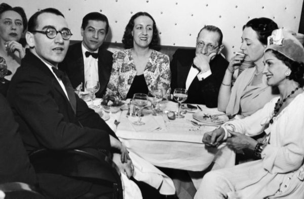 Gabrielle Chanel, surrounded by friends, including the composer Igor Stravinsky and the star of the legendary troupe Russian Ballets Serge Lifar