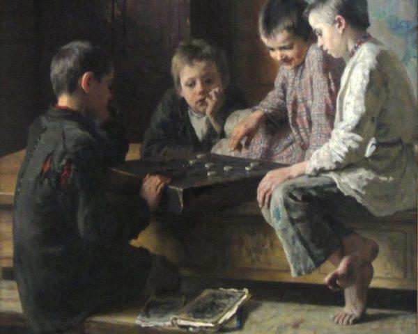Nikolay Bogdanov-Belsky. Painting Between classes, 1903
