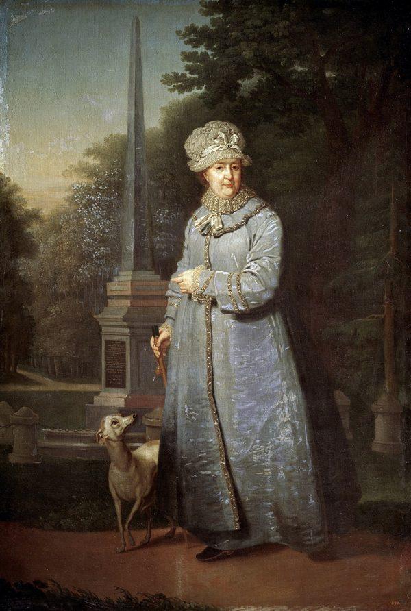 Vladimir Borovikovsky. Painting Catherine II Walking in Tsarskoye Selo Park (with the Cagul Obelisk), 1800-1810